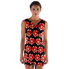 Red  Flower Pattern On Brown Wrap Front Bodycon Dress