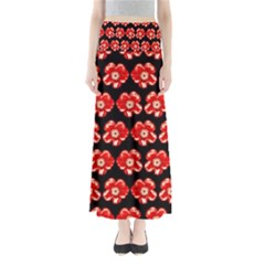 Red  Flower Pattern On Brown Maxi Skirts