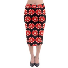 Red  Flower Pattern On Brown Midi Pencil Skirt