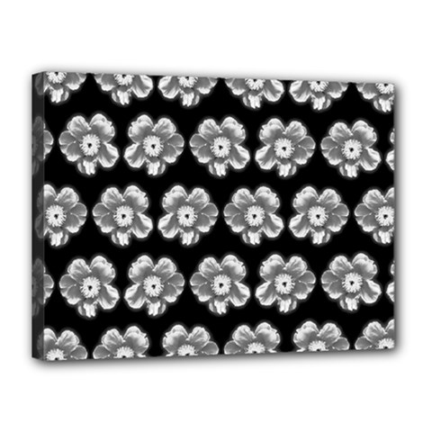 White Gray Flower Pattern On Black Canvas 16  X 12  by Costasonlineshop