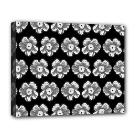 White Gray Flower Pattern On Black Deluxe Canvas 20  X 16