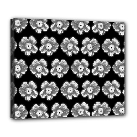 White Gray Flower Pattern On Black Deluxe Canvas 24  X 20