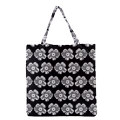 White Gray Flower Pattern On Black Grocery Tote Bag by Costasonlineshop