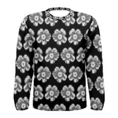 White Gray Flower Pattern On Black Men s Long Sleeve Tee by Costasonlineshop