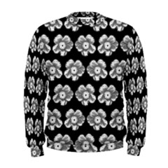 White Gray Flower Pattern On Black Men s Sweatshirt