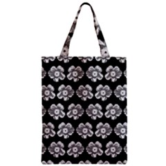White Gray Flower Pattern On Black Zipper Classic Tote Bag