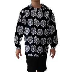 White Gray Flower Pattern On Black Hooded Wind Breaker (Kids) by Costasonlineshop