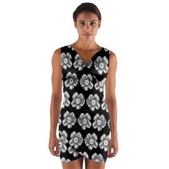 White Gray Flower Pattern On Black Wrap Front Bodycon Dress