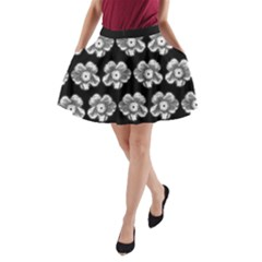 White Gray Flower Pattern On Black A Line Pocket Skirt by Costasonlineshop