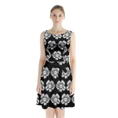 White Gray Flower Pattern On Black Sleeveless Chiffon Waist Tie Dress by Costasonlineshop