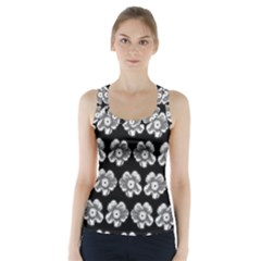 White Gray Flower Pattern On Black Racer Back Sports Top