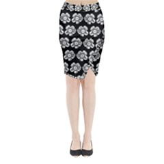 White Gray Flower Pattern On Black Midi Wrap Pencil Skirt by Costasonlineshop