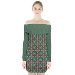 Xmas Jacquard Long Sleeve Off Shoulder Dress by olgart