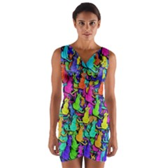 Colorful Cats Wrap Front Bodycon Dress by Valentinaart
