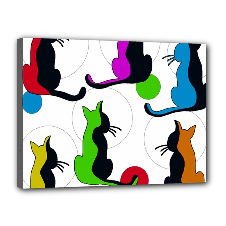Colorful abstract cats Canvas 16  x 12