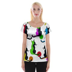Colorful Abstract Cats Women s Cap Sleeve Top by Valentinaart