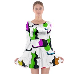 Colorful abstract cats Long Sleeve Skater Dress