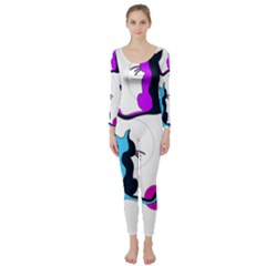 Purple Abstract Cats Long Sleeve Catsuit by Valentinaart