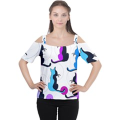 Purple Abstract Cats Women s Cutout Shoulder Tee by Valentinaart