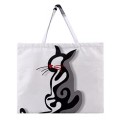 Elegant Abstract Cat  Zipper Large Tote Bag by Valentinaart