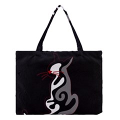 Gray elegant cat Medium Tote Bag by Valentinaart