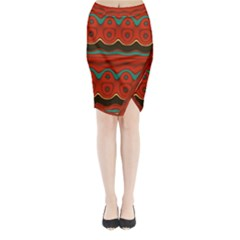 Orange Black And Blue Pattern Midi Wrap Pencil Skirt by theunrulyartist
