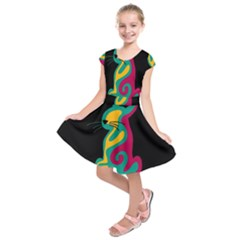 Colorful abstract cat  Kids  Short Sleeve Dress by Valentinaart