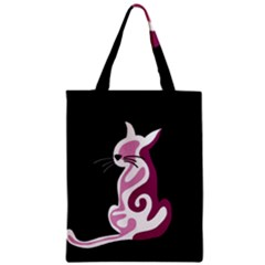 Pink Abstract Cat Zipper Classic Tote Bag