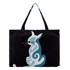 Blue Abstract Cat Medium Tote Bag by Valentinaart