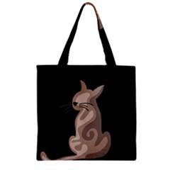 Brown Abstract Cat Zipper Grocery Tote Bag by Valentinaart