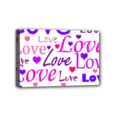 Love Pattern Mini Canvas 6  X 4  by Valentinaart