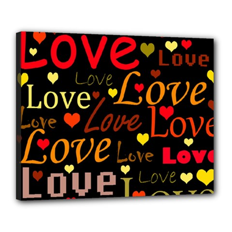 Love Pattern 3 Canvas 20  X 16  by Valentinaart