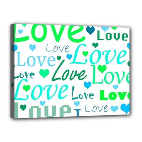Love Pattern   Green And Blue Canvas 16  X 12  by Valentinaart