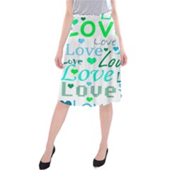 Love Pattern   Green And Blue Midi Beach Skirt by Valentinaart