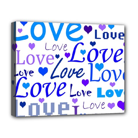 Blue And Purple Love Pattern Deluxe Canvas 20  X 16   by Valentinaart