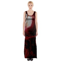 Dark Red Candlelight Candles Maxi Thigh Split Dress by yoursparklingshop