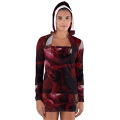 Dark Red Candlelight Candles Women s Long Sleeve Hooded T Shirt by yoursparklingshop