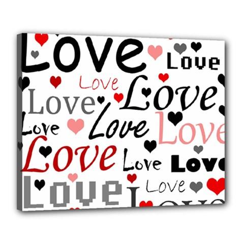 Love Pattern   Red Canvas 20  X 16  by Valentinaart