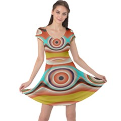 Oval Circle Patterns Cap Sleeve Dresses by theunrulyartist