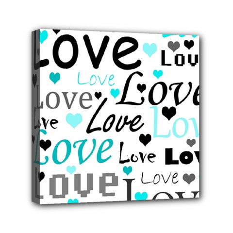 Love Pattern   Cyan Mini Canvas 6  X 6  by Valentinaart