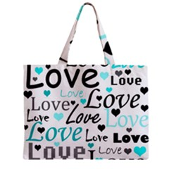 Love pattern - cyan Zipper Mini Tote Bag by Valentinaart
