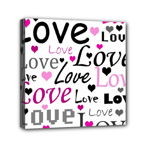 Love Pattern   Magenta Mini Canvas 6  X 6  by Valentinaart