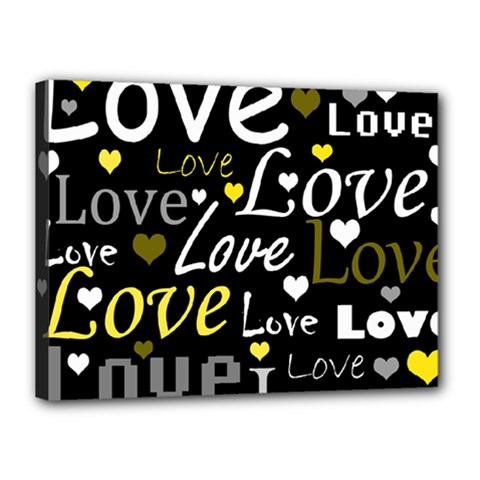 Yellow Love Pattern Canvas 16  X 12  by Valentinaart