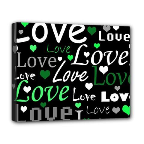 Green Valentine s Day Pattern Deluxe Canvas 20  X 16   by Valentinaart
