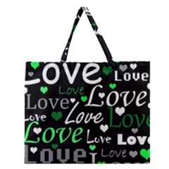 Green Valentine s Day Pattern Zipper Large Tote Bag by Valentinaart