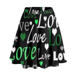 Green Valentine s day pattern High Waist Skirt by Valentinaart