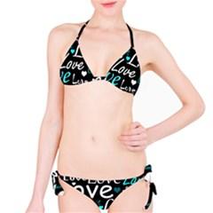 Valentine s Day Pattern   Cyan Bikini Set by Valentinaart