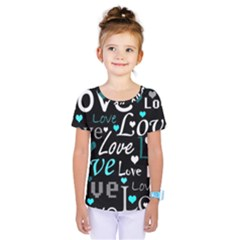 Valentine s day pattern - cyan Kids  One Piece Tee by Valentinaart