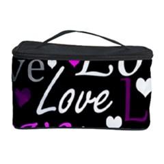 Valentine s Day Pattern   Purple Cosmetic Storage Case by Valentinaart