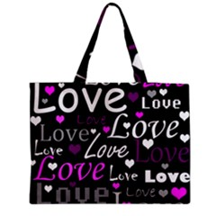 Valentine s Day Pattern   Purple Medium Zipper Tote Bag by Valentinaart